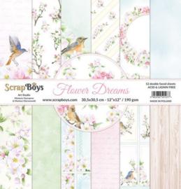 117072/0053-ScrapBoys Flower dreams paperset 12 vl+cut out elements-DZ FLDR-08- 190gr -30,5x30,5cm