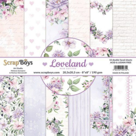 117072/0061-ScrapBoys Loveland new edition paperpad 12 vl+cut out elements-DZ NE-LOLA-10 -190gr- 20,3x20,3cm