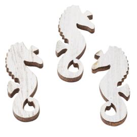3863 547-Hobbyfun-Houten strooideel Zeepaardje-wit-ca. 3.5 cm-buidel met 6 st