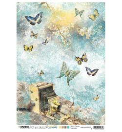 JMA-NA-RICE04-JMA Rice paper Vintage camera, butterflies New Awakening nr.04