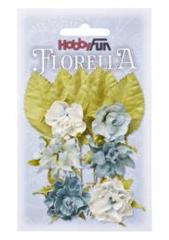 3866083-FLORELLA-Blüten&Blätter hellblau, 3cm