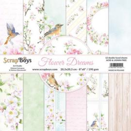 117072/0055-ScrapBoys Flower dreams paperpad 12 vl+cut out elements-DZ FLDR-10 -190gr- 20,3x20,3cm
