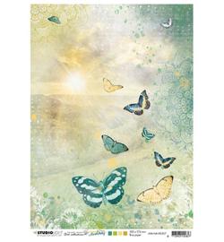 JMA-NA-RICE07- JMA Rice paper Sunrise, butterflies New Awakening nr.07