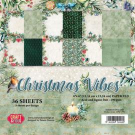 """CPB-CV15-Craft&You Christmas Vibes Small Paper Pad 6""""x6""""-15,24cmx15,24cm- 36 vel"""