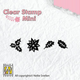 MAFS005-Clearstempel - Weihnachten Mini Holly Blätter- Nellies Choice -50x13mm