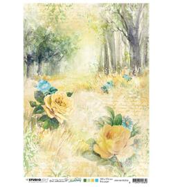 JMA-NA-RICE06-JMA Rice paper Forest road & roses New Awakening nr.06