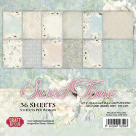 "CPB-ST15-Craft&You Sweet Time small paper pad-6""x6"" -36 vel"