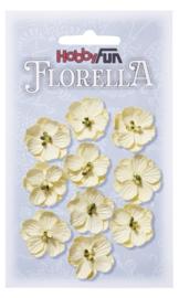 3866 012-FLORELLA-Blüten creme, 2,5cm