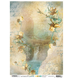 JMA-NA-RICE10- JMA Rice paper Waterfall, rocks, flowers New Awakening nr.10