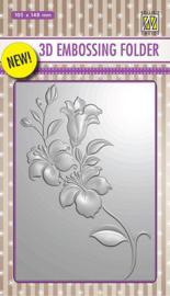 Nellies Choice 3D Emb. folder tak met bloemen EF3D005 105x148mm