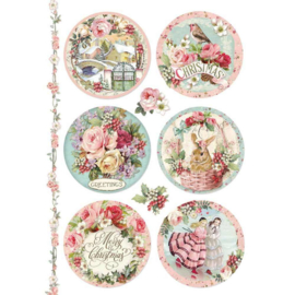 DFSA4314-Stamperia Rice Paper- A4- Pink Christmas Spheres
