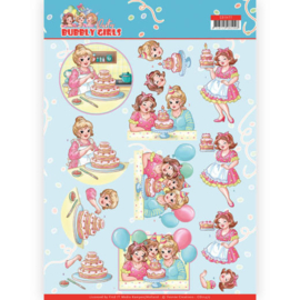 CD11477-3D cutting sheet - Yvonne Creations - Bubbly Girls - Party - Baking