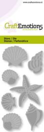 115633/0246-Craft Emotions Die-Muscheln und Seesterne Card 5x10cm