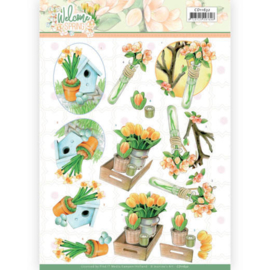 CD11632 - 3D cutting sheet - Jeanine's Art - Welcome Spring - Orange Tulips