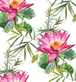 240054-01 - Vegan leer, white, water lilies-Stafil