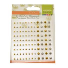 2313-107-Parels half zelfklevend 3+5mm x108 zilver en goud