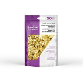 CC-SEQUIN-PRGO-Crafter's Companion mixed pailletten pak - Goud