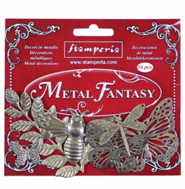 SBA382-Stamperia Metal Fantasy Embellishments Nature -19 stuks
