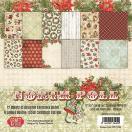 117020/1430-Craft&You North Pole BIG Paper Set 12x12 12 vel CPS-NP30