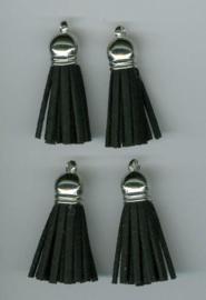 12312-1201-Kwastjes-tassel met cap suede zwart- zilver 3CM 4 ST