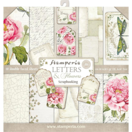 SBBL22-Stamperia Letters & Flowers 12x12 Inch Paper Pack