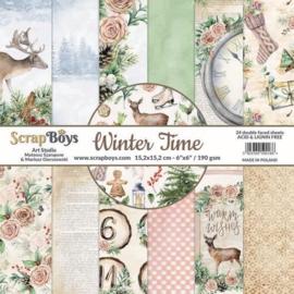 117072/0037-ScrapBoys Winter Time paperset 12 vl+cut out elements-DZ WITI-08 190gr 30,5 x 30,5cm