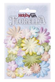 3866201-FLORELLA Bloemen uit moerbijpapier, mix II, ca. 20 st 2 - 4 cm