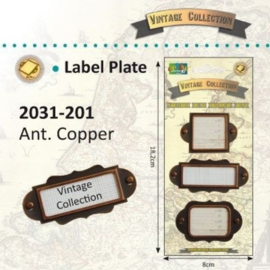 2031-201 - Vintage label plates x3 ass. copper
