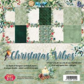 """CPS-CV30 -Craft&You Christmas Vibes BIG Paper Set 12""""x12""""-30,48cmx30,48cm- 12 vel"""