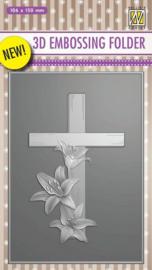 Nellie's Choice 3D Emb. Folder kruis met lelies EF3D010 106x150mm