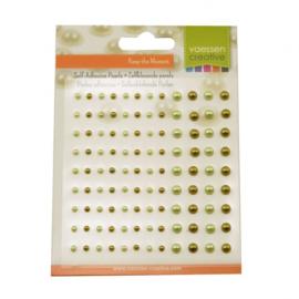 2313-102-Parels half zelfklevend 3+5mm x108 lichtgeel en mosgroen