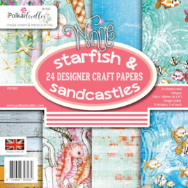 """PD7953-Starfish & Sandcastles-Polkadoodles Paperpack-24 sheets-6""""x6""""- 148 mm x 148 mm"""