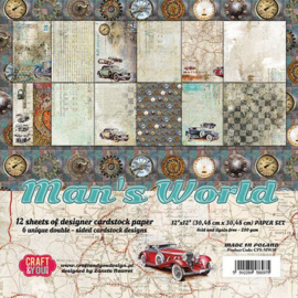 CPS-MAN30-Craft&You Man's World Big Paper Set 12x12 inch-30,48x30,48 cm-12 vel