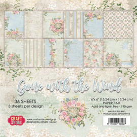 CPB-GWW15-Craft&You Gone with the Wind -Small Paper Pad- 6x6 -36 vel