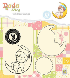 DDCS011-DADA Die with clear stamp-It's a boy- On the moon