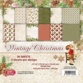 "CPB-VC15-Craft&You Vintage Christmas Small Paper Pad 6""x6""-15,24cmx15,24cm- 36 vel"