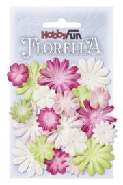 3866202-FLORELLA Bloemen uit moerbijpapier, mix III, ca. 20 st 2 - 4 cm