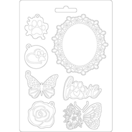 STAMPERIA SOFT MOULD A5 CIRCLE OF LOVE FRAME AND BUTTERFLY ( K3PTA572 )