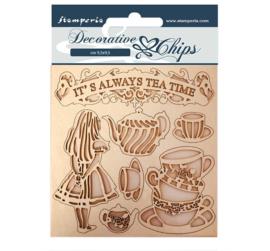 SCB49 - Stamperia Decorative Chips Alice Tea Time