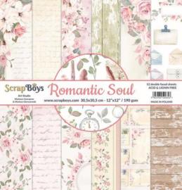 117072/0039-ScrapBoys Romantic Soul paperset 12 vl+cut out elements-DZ ROSO-08 190gr 30,5 x 30,5cm