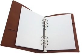 115633/1950-CraftEmotions Ringband Planner - voor papier A5-148x210mm - Cognac bruin PU leather - Paper not included