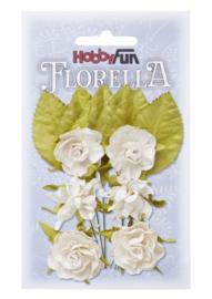 3866081-FLORELLA-Blüten&Blätter weiss, 3cm