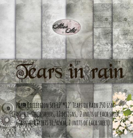 """Paper Collection Set 12""""*12"""" Tears in Rain 250 gsm (12 double-sided sheets, 12 designs, bonus: 6 sheets 31,5x5cm, and 15x30cm inside the cover)"""