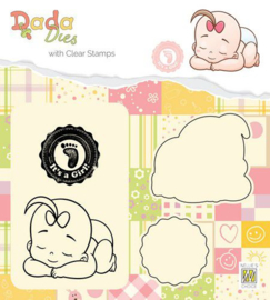 DDCS013-DADA Die with clear stamp-It's a girl- Taking a rest