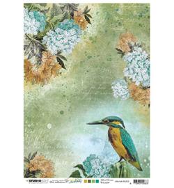JMA-NA-RICE05-JMA Rice paper Kingfisher, flowers New Awakening nr.05