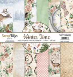 117072/0038-ScrapBoys Winter Time paperpad 24 vl+cut out elements-DZ WITI-09 190gr 15,2 x 15,2cm