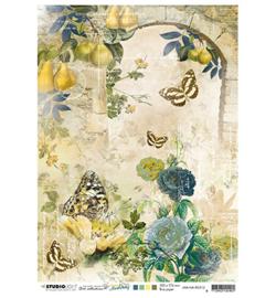 JMA-NA-RICE12-JMA Rice paper Arch w. roses & Butterflies New Awakening nr.12