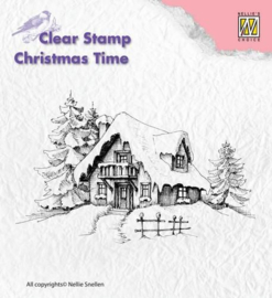 CT014-Christmas time Snowy HOuse -Nellie's Choice Clear Stamp