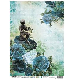 JMA-NA-RICE11- JMA Rice paper Roses, figure w. Flute, ticket New Awakening nr.11