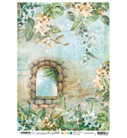 JMA-NA-RICE08- JMA Rice paper Stone window, orchids New Awakening nr.08